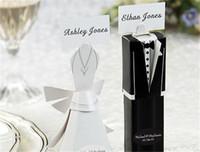 gelin elbisesi hediye kutusu toptan satış-Hediye Favor Kutusu Yeni 100 Smokin Elbise Düğün Kutuları Hediye Favor Kutusu Avrupa Gelin Ve Damat Şeker Kutusu Düğün Malzemeleri Yaratıcı Şeker Kutusu
