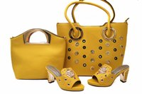 Wholesale Yellow Shoes Matching Bag - Yellow Italian Shoes matching Bag fashion shoes and bag set in high quality bag and shoes for party