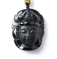 Wholesale Kwan Yin Jade Pendant - AAA natural hand-carved black obsidian pendant frosted charm good luck Kwan-Yin head pendant black jade bead necklace