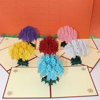anneler tebrik kartları toptan satış-3d el yapımı kart anneler günü hediyeleri 3d zarf romantik sakura tebrik kartı sevimli sakura ağacı kartpostal IC900