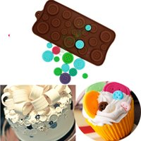 Wholesale Chocolate Cupcake Toppers - Buttons chocolate mold silicone mat bakeware fondant cake decorating sugar craft pastry tools cupcake topper