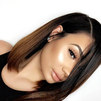 Wholesale Full Lace Human Hair Bob Wig Ombre Color Pre plucked Hairline Peruvian Virgin Hair Lace Front Wig With Baby Hair Lace Front Wig