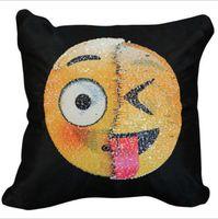 Wholesale Face Pillows - Emoji magic color face pillow set car pillow sofa pillow pillowcase funny look sequins 1 pcs shopping