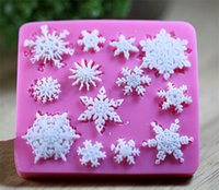 Wholesale Snowflakes Cake Mold Silicone - 3D Christmas Snowflake Shape Silicone Cookie Mold Candy Cake Decorating Tools Kitchen Baking Decorating Tool TY1745