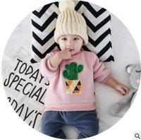 Wholesale Toddler Boys Winter Jumper - Baby boys girls sweatshirt toddler kids plush cactus embroidery long sleeve tops winter newborn velvet thicken warmer casual pullover R1101