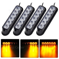 4pcs 6LED 6W Car Truck Auto Grille Deck Strobe Warning Flash Light Amber / Yellow 12V