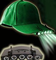 ingrosso le luci dei cappelli da caccia-5 LED Hat Cap Luce Clip-On 5 Pesca LED Camping luce della testa del faro di Cap con batterie 2 * CR2032 caccia Lampada da esterno