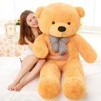 Wholesale Yellow Cute Teddy Bear - 100 Cotton Light Brown Giant 100cm Cute Plush Teddy Bear Huge Soft TOY