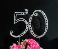 "Wholesale Diamante Cake Toppers - 1pcs Large Diamante Rhinestone Letter ""50"" Cake Toppers For Wedding Birthday Party Decoration Customized Number Available"