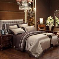 Wholesale Discount Bedspread Sets - New bedding set jacquard Satin Silk 100% cotton bed sheet set Home Textile duvet cover bedclothes bedspread discount