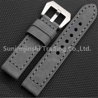 Wholesale Handmade Leather Bracelets Men - Handmade 20 22 24 26 mm Grey Vintage Men Leather Watchband Strap+Stainless Buckle Replacement Watch Bracelet For Panerai Free Shipping-124