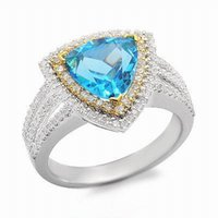 Spedizione gratuita Solid 14K White Gold Natural Topaz Diamond Fidanzamento Wedding Ring (R0099)