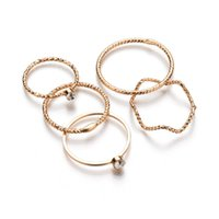 MissCyCy 5Pcs / set Punk Gold Stack colore Plain Band Midi Finger Knuckle Rings Set per donna Strass Mid Finger Ring