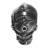 Wholesale Muzzle Coupling - High quality PVC Head bondage Leather Hoods fully enclosed fun headgear masks sex game Hoods & Muzzles BDSM game for couples Sex toys