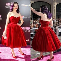 Wholesale Katy Perry Pink Prom Dress - 2016 Katy Perry Red Velvet Cocktail Dresses Strapless Tea Length Ball Gown Vintage Celebrity Dresses  Prom Dresses BO5918