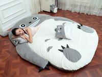 totoro bed achat en gros de-Grand Totoro Unique et Double Lit Géant Totoro Lit Matelas Coussin Peluche Matelas Pad Tatami Coussin Beanbag