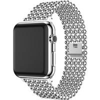 altın iwatch toptan satış-Yeni moda Lüks Paslanmaz Çelik Bant Apple Ürünü için 42mm 38mm Kayış Altın Boncuk Watchwatch Iwatch Serisi için 1 2 3 Band Bilezik Kemer