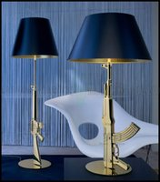 Wholesale Gun Floor Lamp - Modern FLOS AK47 Chrome Gold Gun Table Lamps Desk Light Starck Design Philippe Read Night Light Super Light FLOOR LAMP LLWA022