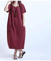 ingrosso abito di lino largo allentato-Vestiti da donna estivi Vestiti casual da donna in cotone e lino Manica corta Vestibilità ampia Abiti estivi M-2XL