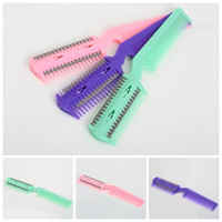 Wholesale professional hairdressing combs - Wholesale- New Quality 1 pcs Professional Hair Razor Comb Scissor Professional Home Thinning Trimmer Hairdressing
