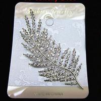 ingrosso spilla stupefacente-Stunning Clear cristalli austriaci Bella foglia argento lega Pin Spilla Vendita calda gioielli da sposa Decorazione Pins Brocce