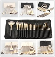Wholesale 18 Piece Makeup Brush Set - Quality The Deluxe Nude Champagne 12-pieces 18-pcs 24-pcs Makeup Brush set Soft Hair Beauty Cosmetic makeup brush Blender & Pouch DHL Free