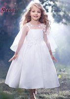 Wholesale Most Beautiful Princess Wedding Dresses - 2017 Lovely Angel A-line Appliqued Taffeta The Most Beautiful Flower Girl Dresses With Wrap For Sale
