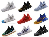 Wholesale Cheaper Kd Shoes - Cheaper 2017 Kevin Durant 10 Basketball Shoes Mens High Quality KD 10 Training Sneakers KD10 Athletic Shoes Size 7-12