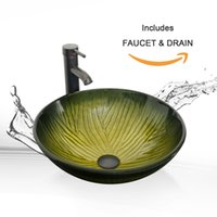 Wholesale Vessel Bowls - Eclife Round Green Bathroom Sink Artistic Tempered Glass Vessel Sink Combo with Faucet 1.5 GPM and Pop up Drain Bathroom Bowl