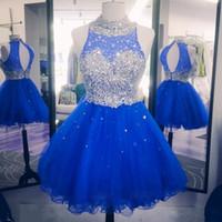 vestidos de regresso a casa inchados frisados venda por atacado-2017 Sparkly Cristal Azul Royal Vestidos Homecoming Para O Doce 16 Tripulação Pescoço Oco de Volta Frisado Inchado Tule Vestidos de Festa de Formatura Vermelho
