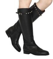 Wholesale western women paintings for sale - Group buy fashionville sale b077 black genuine leather studded belt knee high flat boots luxury designer v