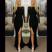 Wholesale Cheap Briefs Women - Cheap In Stock Long Sleeve Evening Dress Lace Hollow Formal Black Dress Coctail Side Slit Evening Dresses Bateau Elegant Dresses For Womens