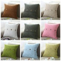 Wholesale Pillow Case Cushion Cover 17 - 17 colors Pillow Cover Button Knitted Twist Decorative Cable Knitting Patterns Cushion Cover Square Pillow Case 45X45CM Xstmas Gifts YYA899