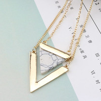 Wholesale American Marble - Triangle geometric necklace Europe and the United States selling new marble pattern triangle geometry double pendant necklace