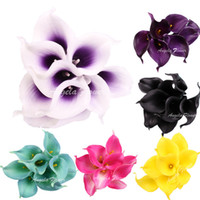 Wholesale real touch calla - 2017 Artificial Flower Real Touch 16 Colors Mini Calla Lily For Home Wedding Party Decorition