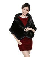 Wholesale Half Sleeve Fur Jackets - Sweetdresses Black Faux Fur Shawl Wrap Stole Cape for Women Wedding Wraps Bridal Jacket wedding shawl accessories AJ002