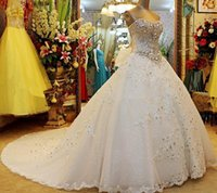 Wholesale Silver Dress Small Train - Strapless Lace Sequins Crystal Stones Major Beading Lace Up Luxury Wedding Dresses Small Tail Custom Made