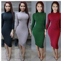 Wholesale Dress Winters - Wholesale-Plus Size Winter Soft Cotton Stretch Black Party Dresses Skinny Sexy Club Wear Gorgeous Warm Maxi Bandage Bodycon Dress