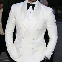 Wholesale Double Breasted Button Jacket - White Wedding Groomsmen Tuxedos 2018 Double Breasted Trim Fit Groom Suit Two Piece Men Suits (Jacket + Pants)