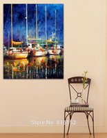 Wholesale Boats Canvas Wall Arts - Boat on Night Harbor Palette Knife Oil Painting Wall Art Picture Printed On Canvas For Office Home Hotel Wall Decor