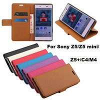 Wholesale Mini C4 - For Sony Z5 mini  C4  + Litchi Wallet Leather TPU Case Cover With Credit Card Slot Flip Stand for Xperia M4 Aqua Compact Premium