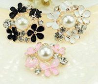 Wholesale pearls for scrapbooking for sale - Group buy 20pcs mm Alloy Rhinestone Pearl Flower Beads Button For Scrapbooking Craft DIY Hair Clip Fashion Accessories