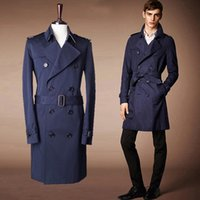 Wholesale Trench Coats Beige Mens - Fall-Hot New 2015Fashion Brand Trench Coat Mens Double-Breasted Males Coats And Jackets with Belt 2 Color Beige  Navy Size M-XXL