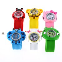 Wholesale Slaps Kids Wrist Watch - Boys Girls Children 1 Pc Fashion Animal Slap Snap On Silicone Wrist Watch Kids Gift Brand New