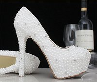 Wholesale Shining Crystal High Heels - 2015 Shining White Beige Women Shoes High Heel Elegant Handmade Crystal Wedding Shoes Ladies Imitation Pearls Party Pumps