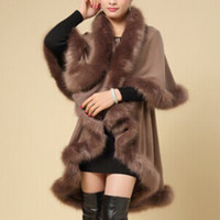 Wholesale Woman Cloaked White - Wholesale-Luxury Women Overcoat Faux Fur Warm Coat Soft Jacket Outerwear Winter Cloak Cape