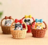 Wholesale Basket Bottle - Cute artificial basket cat Ornaments miniatures for fairy garden gnome resin crafts bonsai bottle garden dollhouse decoration accessories