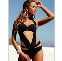 Wholesale Swimsuit Usa Color - 2016 to USA Cut Out Bathing Suit Fashion Brand One Piece Swimsuit Vintage Monokini Sexy Hollow Biquini Push Up Bandage Swimwear Women