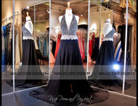 Wholesale Long Ruched Halter Gown - Sexy Black Pageant Dresses Backless Prom Evening Gowns A-Line Halter Crystal Beaded Plus size Long Formal Party Dress Celebrity Gowns 2015