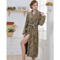 Wholesale womens pajamas robes - Hot Selling Women s Leopard Pajamas Full Sleeve Flannel Microfiber Sleep Lounge Robes Dressing Gown Womens Robes